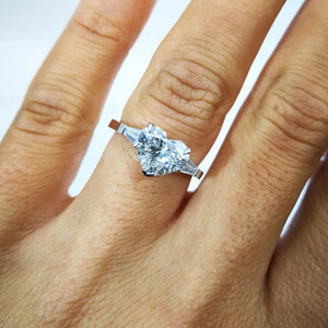 The Skylar Engagement Ring - 3.2 CARAT HEART SHAPED DIAMOND - 14K WHITE GOLD 3 STONES RING #J99274