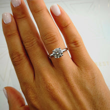 Load image into Gallery viewer, The Jessica Engagement Ring - 1.5 CARAT ROUND BRILLIANT E VVS2 SOLITAIRE DIAMOND RING - 18K WHITE GOLD #J99149
