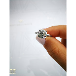 The Jessica Engagement Ring - 1.5 CARAT ROUND BRILLIANT E VVS2 SOLITAIRE DIAMOND RING - 18K WHITE GOLD #J99149