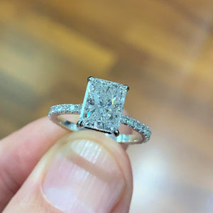 Copy of Luna Moissanite & Diamonds Ring - 4.3 Carat D VVS1 Radiant Hidden Halo Engagement Ring - 14K White Gold