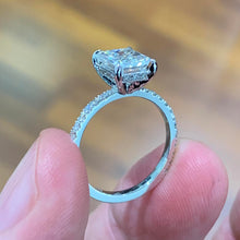 Load image into Gallery viewer, Copy of Luna Moissanite & Diamonds Ring - 4.3 Carat D VVS1 Radiant Hidden Halo Engagement Ring - 14K White Gold