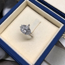 Load image into Gallery viewer, 2.5 CARAT PEAR SHAPED & HALF MOON DIAMONDS - 14K WHITE GOLD 3-STONE-RING ENGAGEMENT RING #J99264