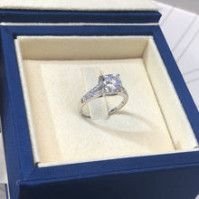 Load image into Gallery viewer, 2.75 CARAT CUSHION SHAPED D VVS1 -14K WHITE GOLD SPLIT SHANK MOISSANITE & DIAMONDS ENGAGEMENT RING #M10058