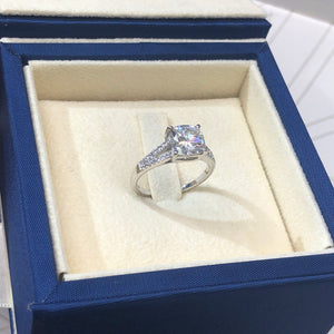 2.75 CARAT CUSHION SHAPED D VVS1 -14K WHITE GOLD SPLIT SHANK MOISSANITE & DIAMONDS ENGAGEMENT RING #M10058
