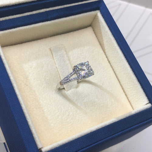 Valentina Moissanite & Diamonds Ring - 2.75 CARAT CUSHION SHAPED D VVS1 -14K WHITE GOLD SPLIT SHANK ENGAGEMENT RING #M10058
