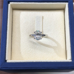 2.15 CARAT OVAL SHAPE MOISSANITE SOLITAIRE ENGAGEMENT RING 14K WHITE GOLD #M10051