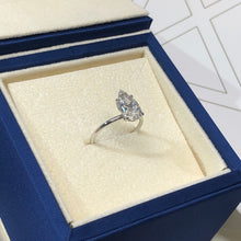 Load image into Gallery viewer, 2 CARAT PEAR SHAPED E VS2 ULTRA-THIN SOLITAIRE WITH HIDDEN HALO DIAMOND ENGAGEMENT RING - 14K WHITE GOLD #J99260