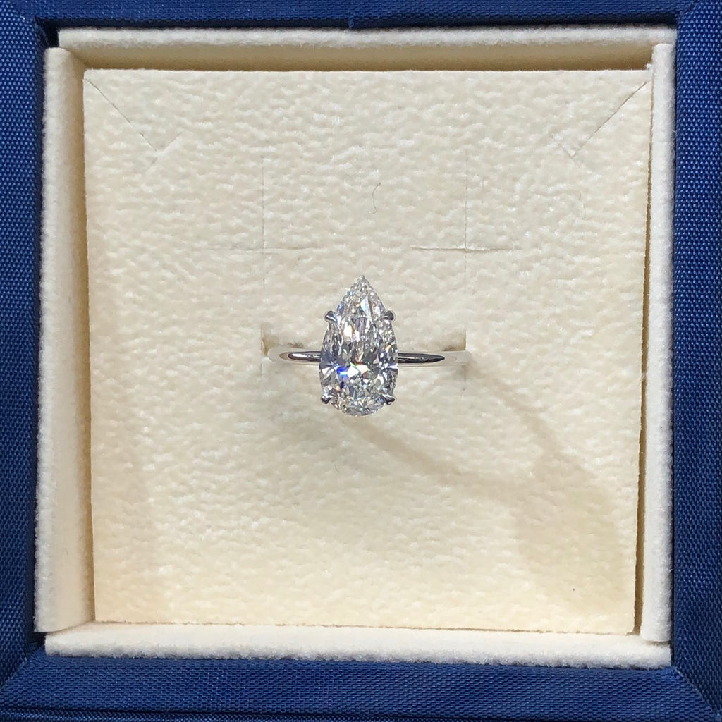 2 CARAT PEAR SHAPED E VS2 ULTRA-THIN SOLITAIRE WITH HIDDEN HALO DIAMOND ENGAGEMENT RING - 14K WHITE GOLD #J99260