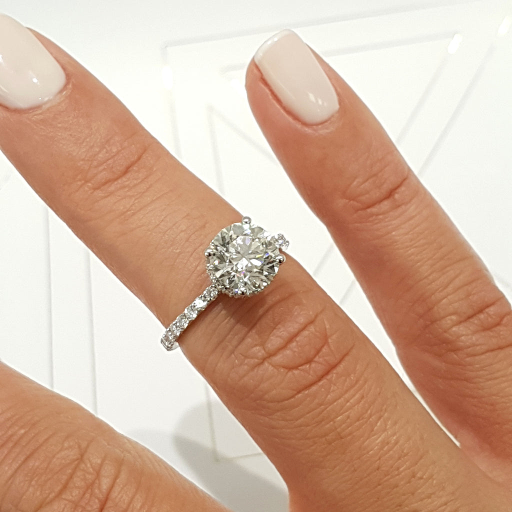 "2 Carat D VS2 Round ""Hidden Halo"" Design Diamond Engagement Ring - 18K White Gold #J99144"