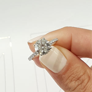 The Vivienne Engagement Ring - 2 Carat D VS2 Round Hidden Halo Design Ring - 18K White Gold #J99144