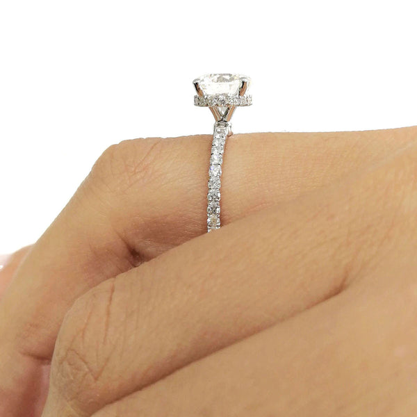 "The Vivienne Engagement Ring - 2 Carat D VS2 Round ""Hidden Halo"" Design Ring - 18K White Gold #J99144"