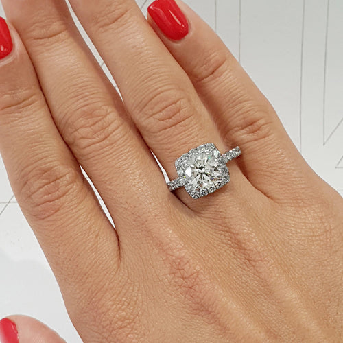 The Sienna Engagement Ring - 2 Carat D Color VS1 Clarity Cushion Style Halo Diamond Ring #J99162