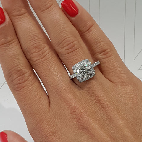 2 Carat Cushion Style Halo Lab Grown Diamond Engagement Ring - 14K White Solid Gold #LG10015