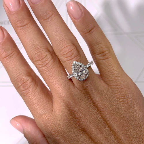 The Sophia Lab Grown Ring - 2 Carat PEAR SHAPE HALO ENGAGEMENT RING - 14K WHITE GOLD #LG10004