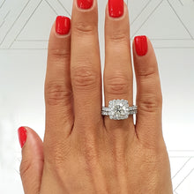 Load image into Gallery viewer, The Sienna Bridal Set - 2.3 Carat Cushion Style Halo Diamond Engagement & Wedding Ring Set- 14K White Gold #J99164
