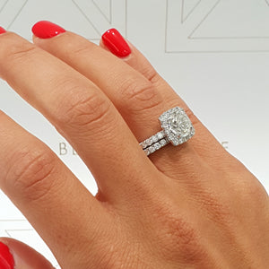The Sienna Bridal Set - 2.3 Carat Cushion Style Halo Diamond Engagement & Wedding Ring Set- 14K White Gold #J99164