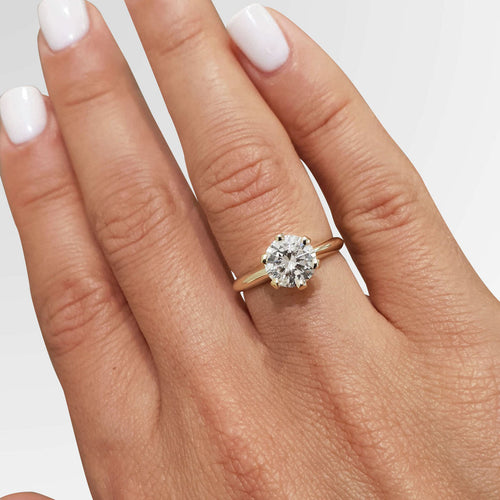 The Samantha Engagement Ring - 1.25 CARAT ROUND BRILLIANT E VS2 Classic SOLITAIRE RING - 18K YELLOW GOLD #J99167