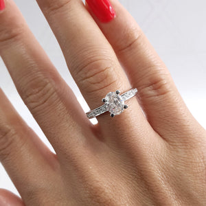 The Giselle Engagement Ring  - 1.16 Carat Oval F SI1 - 14K White Gold Diamond Ring #J99169