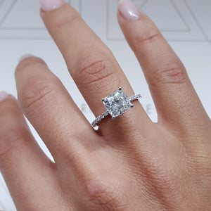 "2.5 CARAT E VS2 ""HIDDEN HALO"" CUSHION CUT LAB GROWN DIAMOND ENGAGEMENT RING #LG10014"