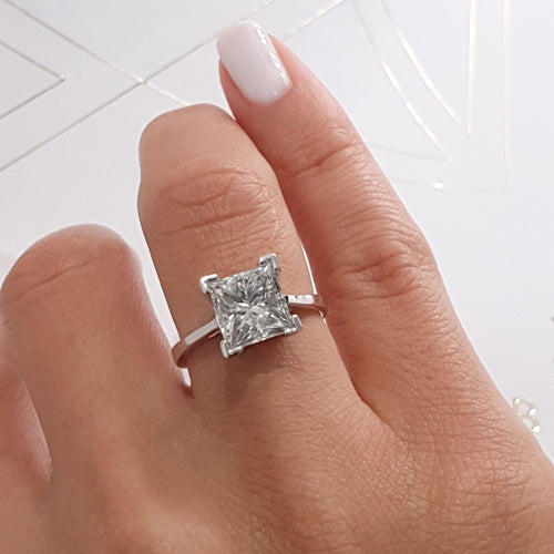 The Ella Engagement Ring  - 3 Carat White Gold Princess Cut F VS2 Solitaire Diamond Ring #J99178