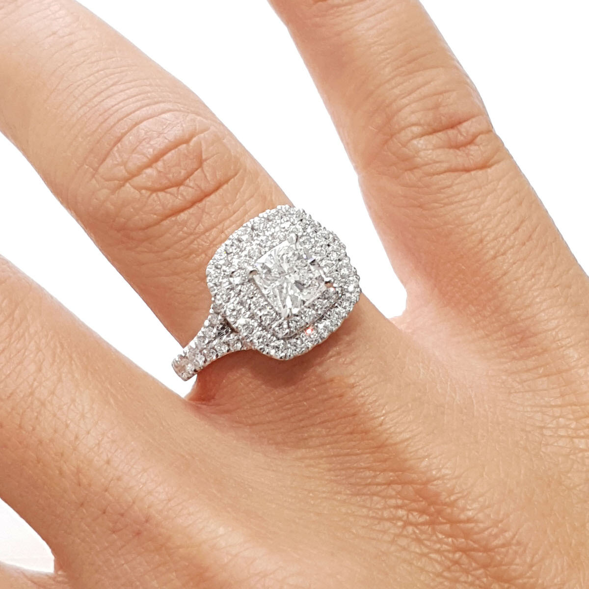 The Tina Engagement Ring - 1.90 Carat Cushion Diamond D VS1 - 14K White Gold Double Halo Split-Shank Ring #J99185