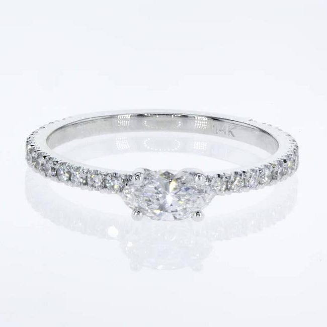 Stacking Ring - Marquise Cut Diamond in Pave style 14k White Gold #J99198