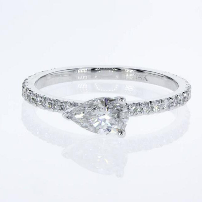 Stacking Ring - Pear Cut Diamond in Pave style 14k White Gold #J99200