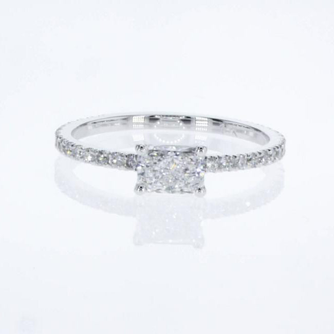 Stacking Ring - Radiant Cut Diamond in Pave style 14K White Gold #J99209