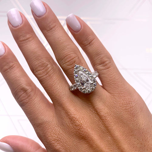 The Maya Engagement Ring - 4 CARAT PEAR SHAPE HALO DIAMOND RING - 18K WHITE GOLD #J99225