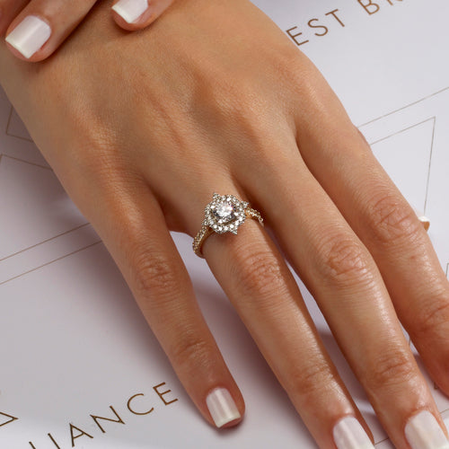 The Francesca Engagement Ring - 2 CARAT TWO-TONES DIAMOND DESIGNER HALO RING - 14K YELLOW & WHITE GOLD #J99240