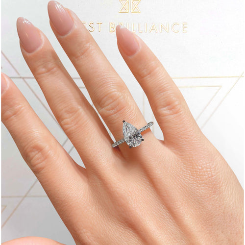 The Mia Engagement Ring - 2 Carat E VS2 Pear Shaped Hidden Halo Ring - 14K White Gold #J99250