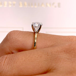 The Eloise Engagement Ring - 2 CARAT ROUND E VS2 ULTRA-THIN RING - 14K YELLOW & WHITE GOLD #J99282
