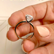 Load image into Gallery viewer, The Eloise Engagement Ring - 2 CARAT ROUND E VS2 ULTRA-THIN RING - 14K YELLOW & WHITE GOLD #J99282