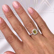 Load image into Gallery viewer, The Genesis Engagement Ring- 1.35 CARAT EMERALD FANCY VIVID YELLOW VS1 GIA DIAMOND RING #J99273