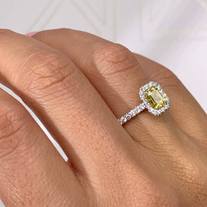 The Genesis Engagement Ring- 1.35 CARAT EMERALD FANCY VIVID YELLOW VS1 GIA DIAMOND RING #J99273