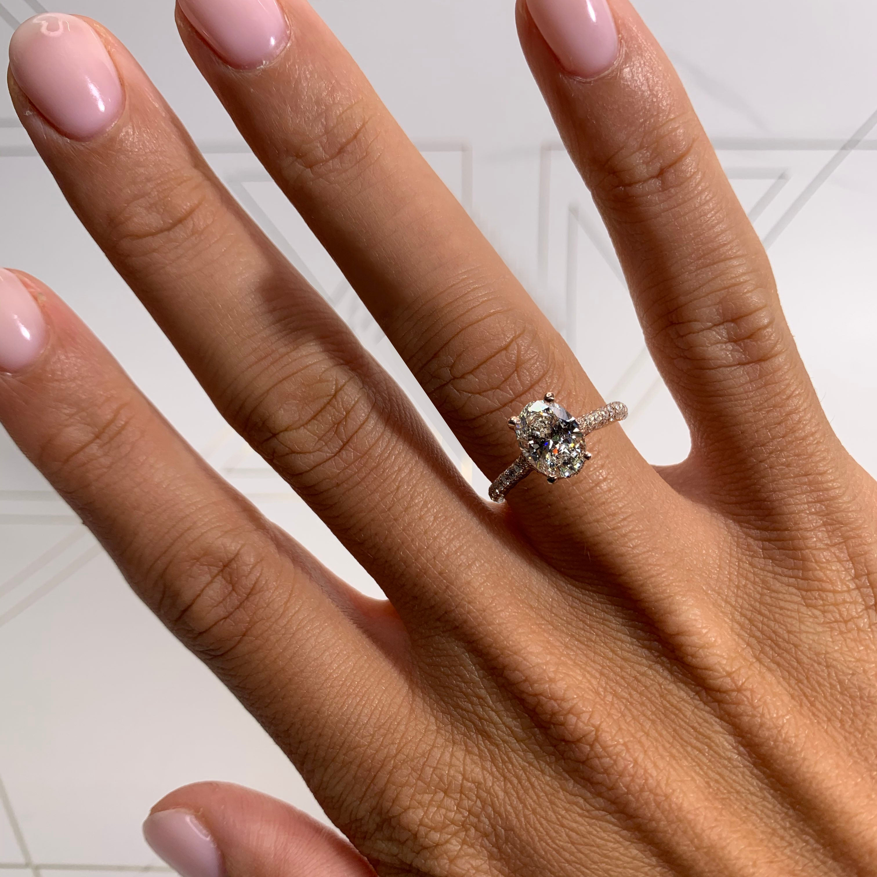 The Rebecca Engagement Ring - 1.8 CARAT HIDDEN HALO OVAL ENGAGEMENT RING - 18K ROSE GOLD #J99245