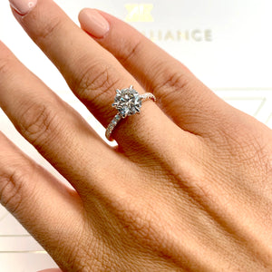 The Veronica Engagement Ring - 2 CARAT ROUND TWO-TONES DIAMOND RING #J99305