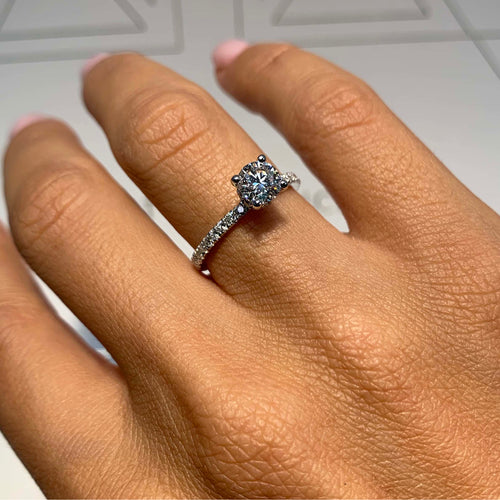 The Vivienne Engagement Ring - 0.8 Carat E VS2 Round Hidden Halo Design Diamond Ring - 14K White Gold #J99306