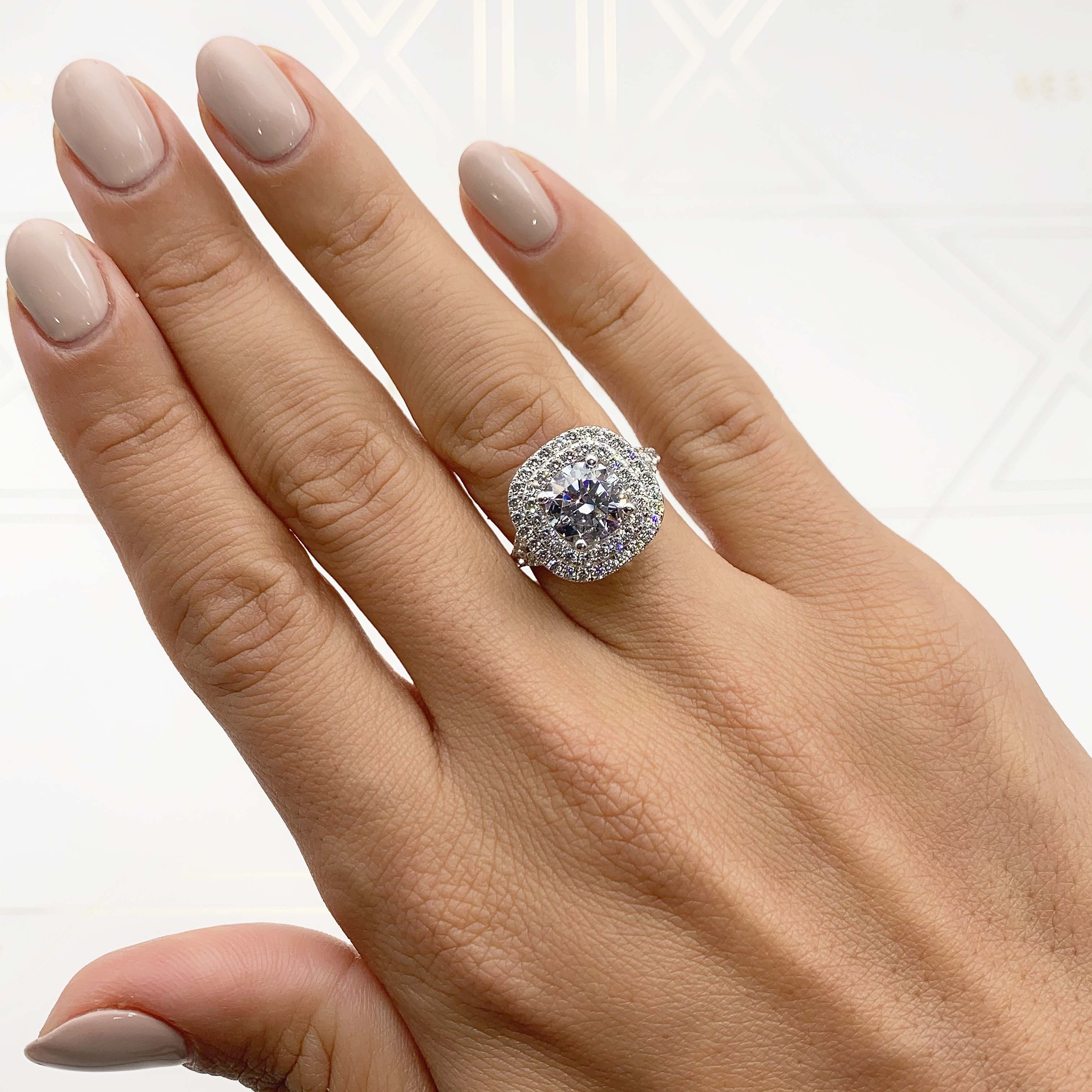 The Angela Lab Grown Ring -  14K WHITE GOLD DOUBLE HALO DIAMOND RING - 3 CARAT F VS2 ROUND #LG10024