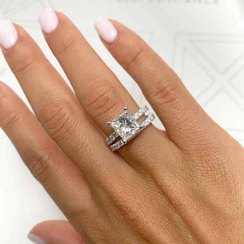The Blair Bridal Set - 3 CT PRINCESS DIAMOND ENGAGEMENT RING & WEDDING BAND SET - 14K WHITE GOLD #J99931