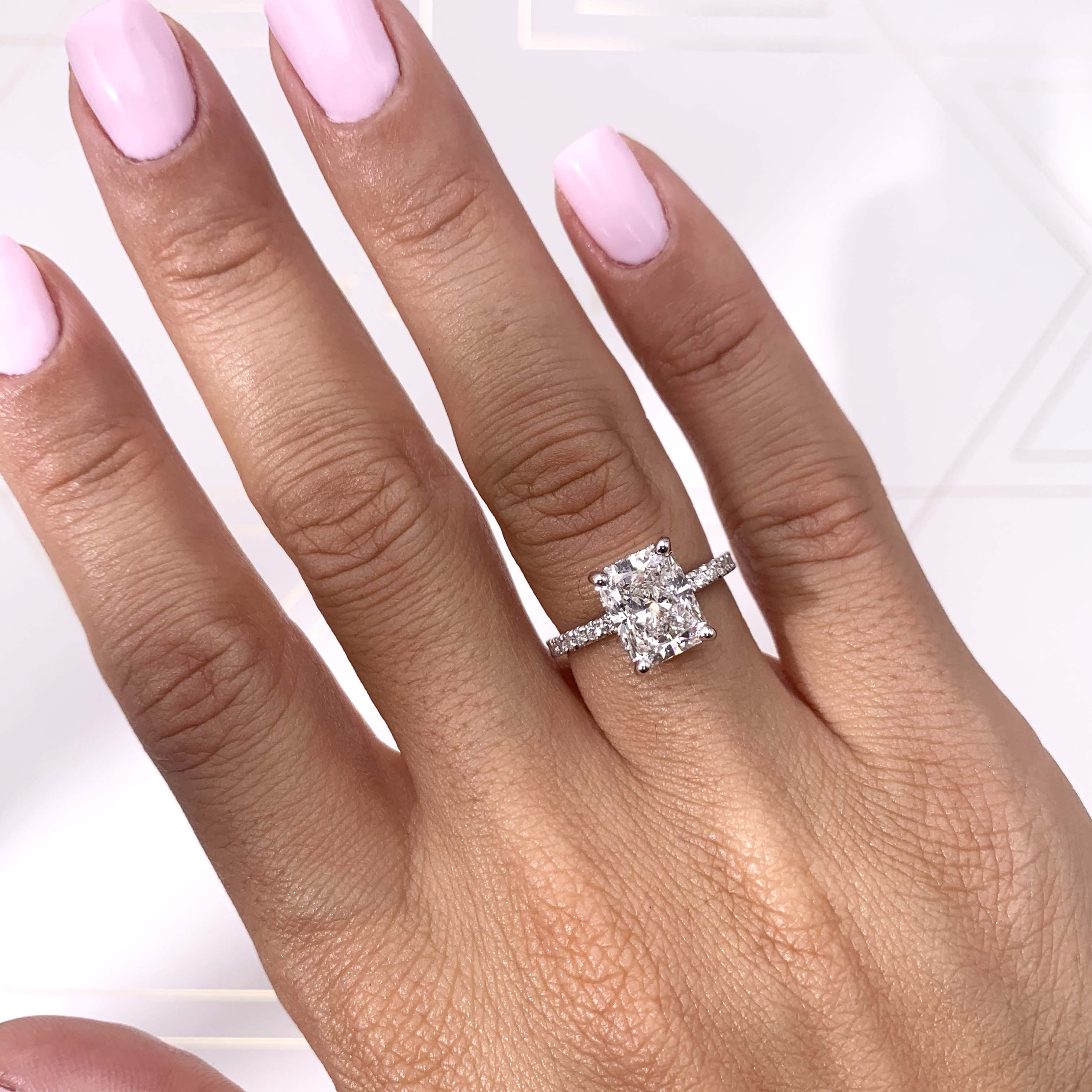 The Luna Lab Grown Ring - 2.5 Carat E VS2 Radiant Hidden Halo Engagement Ring - 14K White Gold #LG10009