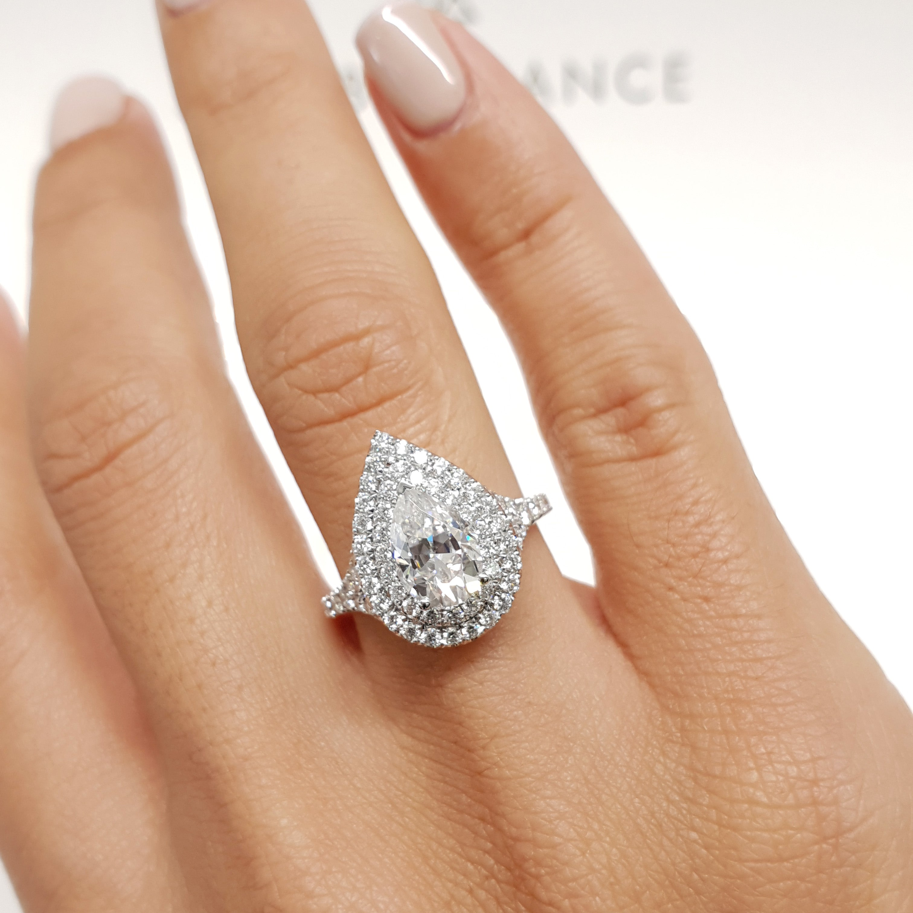 Halo Pear Shape 2.50 Ct Diamond Engagement Wedding Ring Real 14k White Gold Over