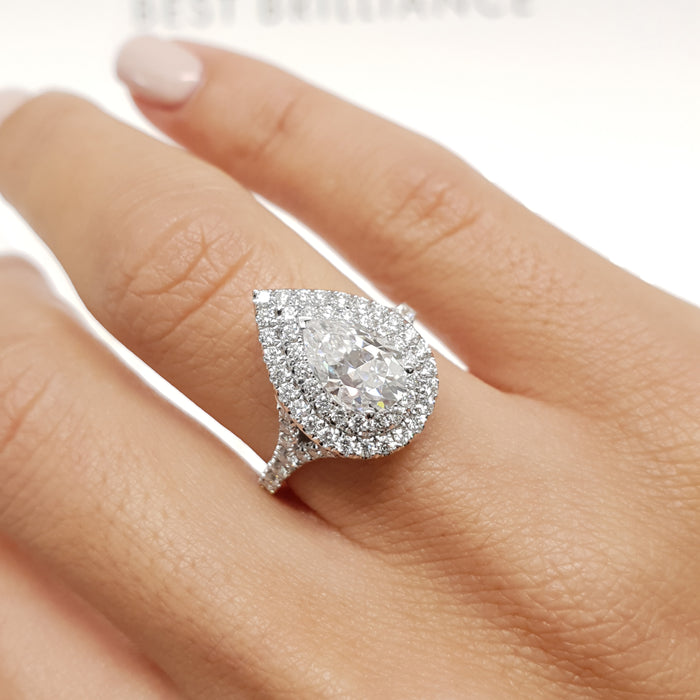 2.2 CARAT PEAR SHAPE DOUBLE HALO FOREVER ONE ENGAGEMENT RING - 14K WHITE GOLD #M10030