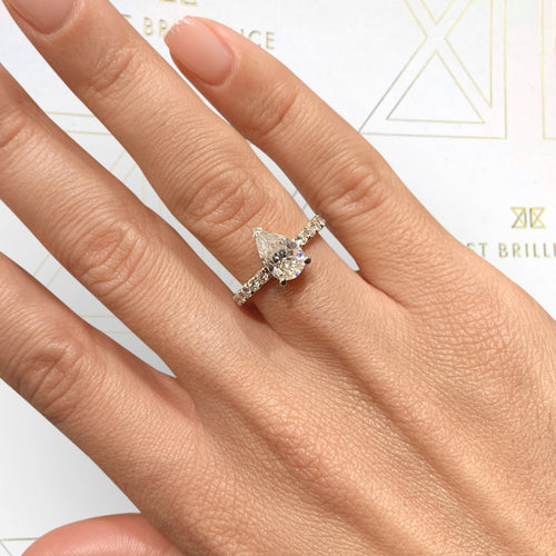 Hailey Moissanite & Diamonds Ring - 2 CARAT ENGAGEMENT PAVE RING PEAR SHAPED D VVS1 - 14K YELLOW GOLD #M10043