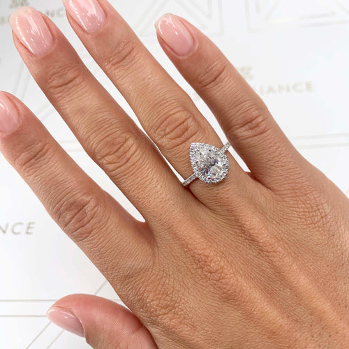 Sophia Moissanite & Diamonds Ring - 2.5 CARAT PEAR SHAPE HALO ENGAGEMENT RING - 14K WHITE GOLD #M10056