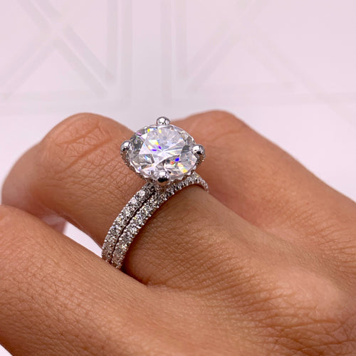 Quinn Moissanite & Diamonds Bridal set - 4 CARAT ROUND HIDDEN HALO ENGAGEMENT & WEDDING RING SET - 14K WHITE GOLD #M10061