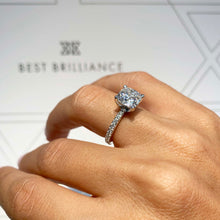 Load image into Gallery viewer, Stephanie Moissanite & Diamonds Ring - Super sparkly 2.8 Carat D VVS Cushion Shaped Pave Engagement Ring #M10102