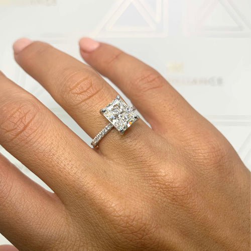 Luna Moissanite & Diamonds Ring - 4.2 Carat D VVS1 Radiant Hidden Halo Engagement Ring - 14K White Gold #M99252