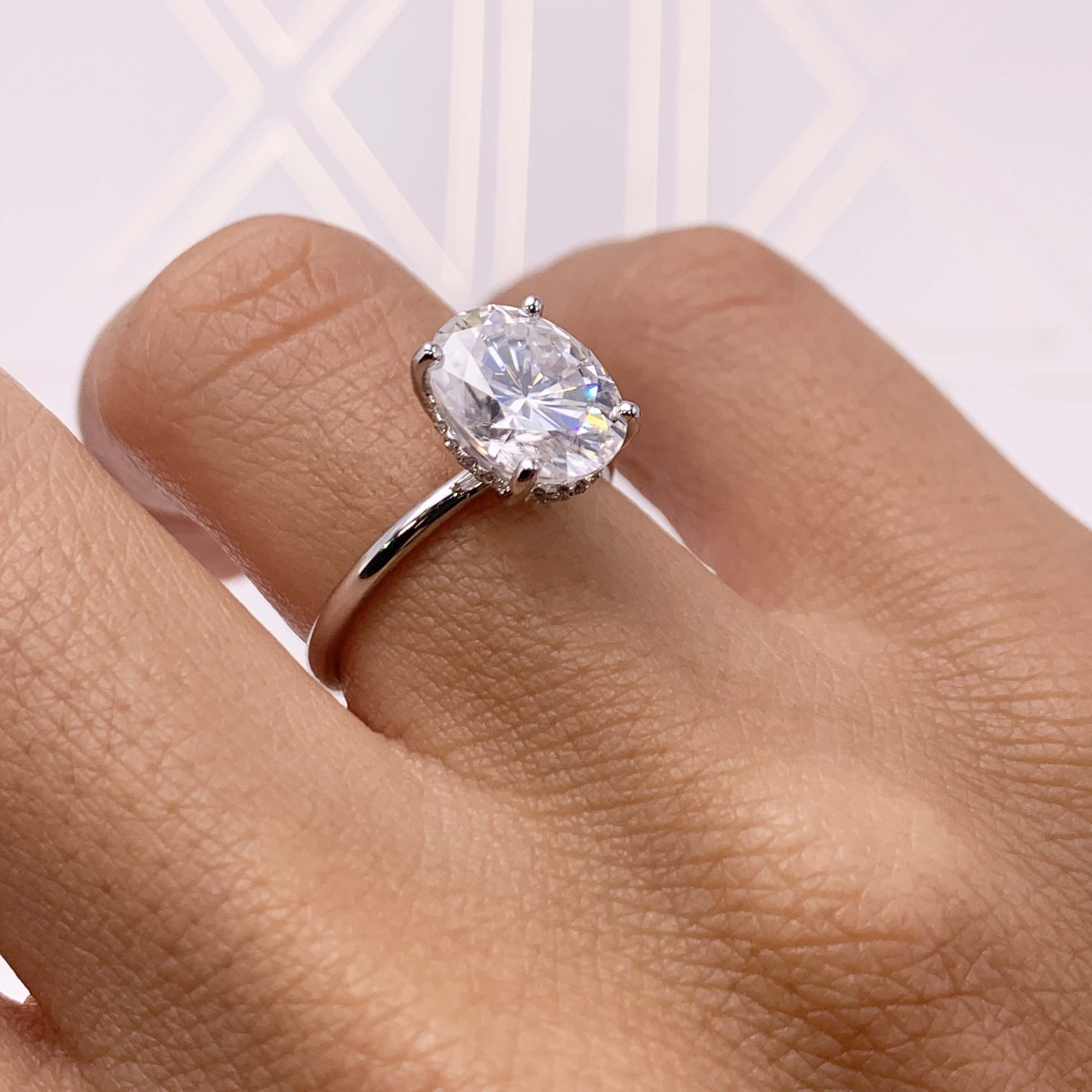 Willow Moissanite & Diamonds Ring - 3.1 CARAT OVAL SHAPED ULTRA-THIN HIDDEN HALO RING - 14K WHITE GOLD