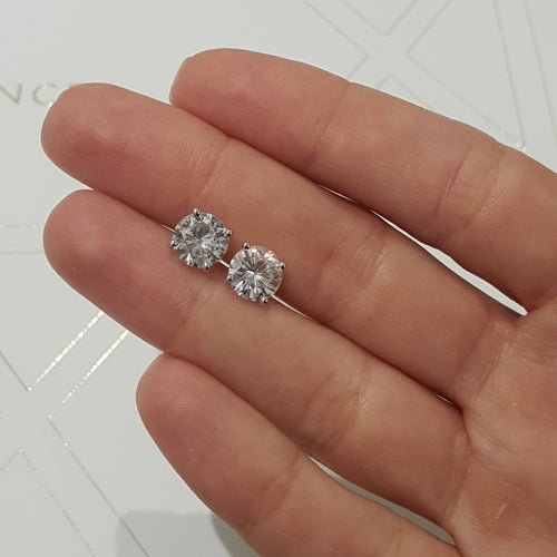 Allen Moissanite Earrings - 3 Carat D Color VVS1 Clarity Stud Earrings - 14K White Gold #ME1006